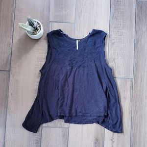 Free people embroidered floral tank top xs